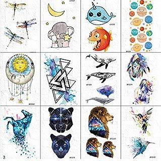 Funny Women Chest Art Tattoos Fake Stickers Boys Arm Cats Face Stars Tattoos Temporal Little Bird Triangle Whale Tatoos Unicorn 10 * 6Cm 12Pcs