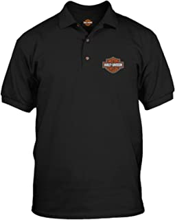 Harley-Davidson Military - Men's Short Sleeve, 3-Button Black Polo Shirt - Bar & Shield | Overseas Tour