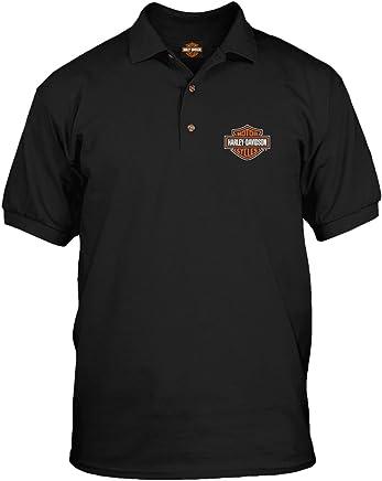 05cfbf3895d8 Harley-Davidson Military - Men's Short Sleeve, 3-Button Black Polo Shirt -