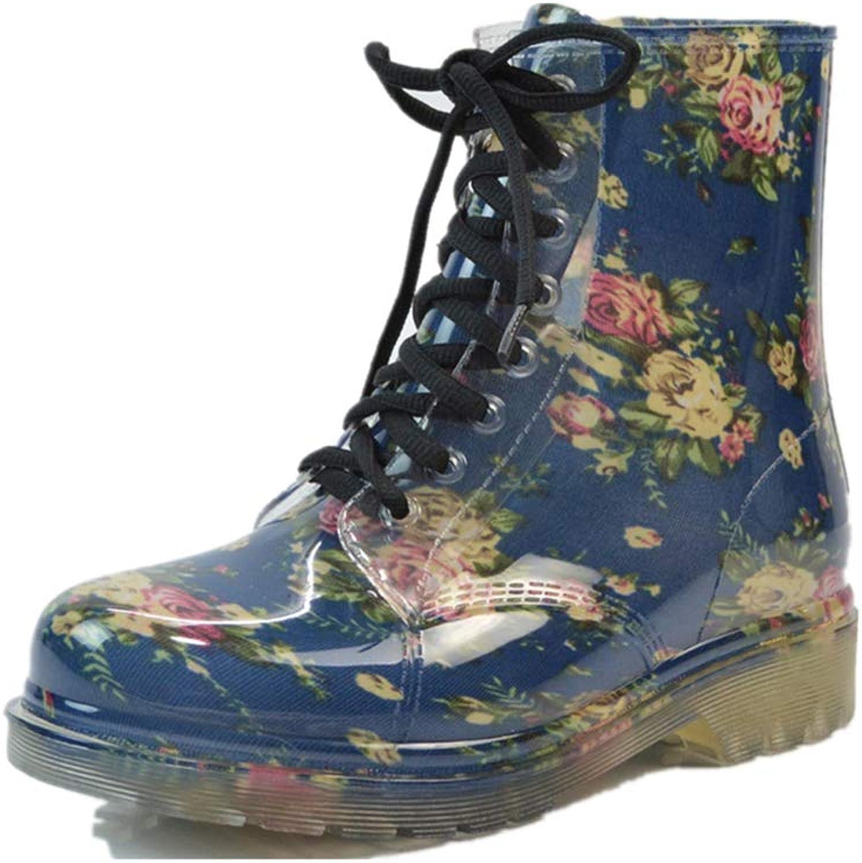 Fancyww Women's Transparent Fower rain Boots Martin Warm Water shoes Boots