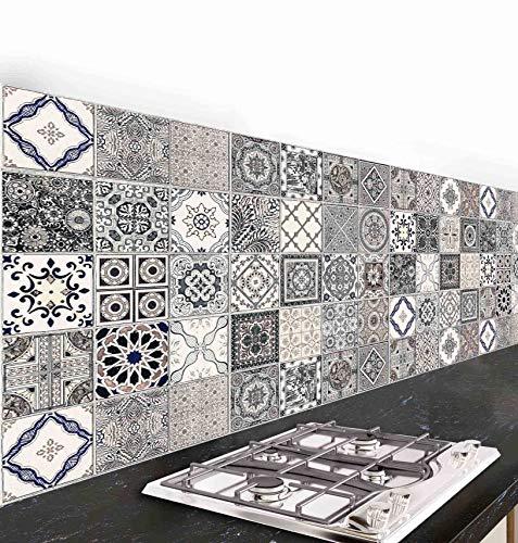 Pannello paraschizzi cucina adesivo da parete Azulejos Antichi 190_x_60_cm 100% made in italy con inchiostro atossico, ignifugo e resistente all'acqua