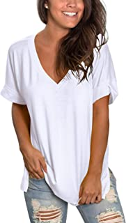 Women's V Neck T Shirt Rolled Sleeve Side Split Tunic Tops