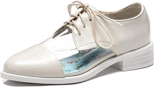 Sneerrt Chaussures Transparentes pour Femmes Chaussures Plates à Lacets pour Hommes et Femmes Chaussures à Plateforme Chaussures à Lacets Oxford