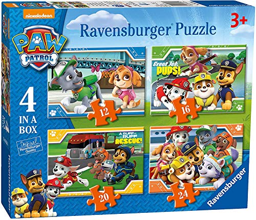 Ravensburger Paw Patrol 4 Puzzle in Una Scatola (12, 16, 20, 24PC)