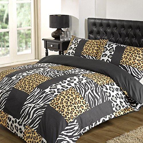 Dreamscene Kruger Bettwäsche-Set, Schwarz, erhältlich in Einzelbett-, Doppelbett, King-Size- und Super-King-Size-Größe, 100 % Polyester, schwarz, Einzelbett