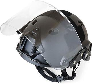 SHENKEL(シェンケル) 4点式あご紐 FAST ヘルメット PJタイプ BK ブラック & シールド バイザー ヘルメットレール 簡単 取り外し可能 サバゲー