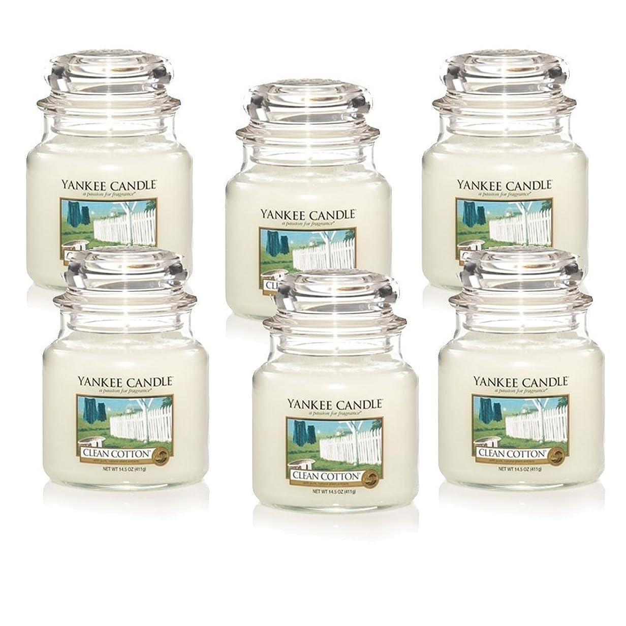 徴収隔離励起Yankee Candle Company Clean Cotton 14.5-Ounce Jar Candle, Medium, Set of 6 [並行輸入品]