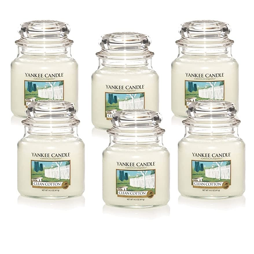 湖好奇心盛謎Yankee Candle Company Clean Cotton 14.5-Ounce Jar Candle, Medium, Set of 6 [並行輸入品]
