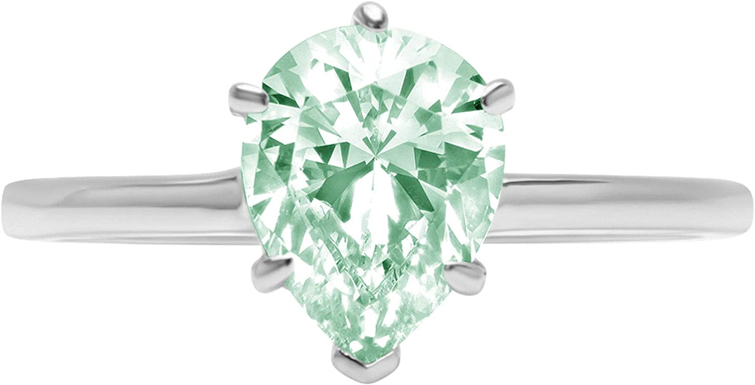 2.4ct Brilliant Pear Cut Solitaire Light Sea Green Simulated Diamond Cubic Zirconia Ideal VVS1 D 6-Prong Engagement Wedding Bridal Promise Anniversary Ring Solid 14k White Gold for Women