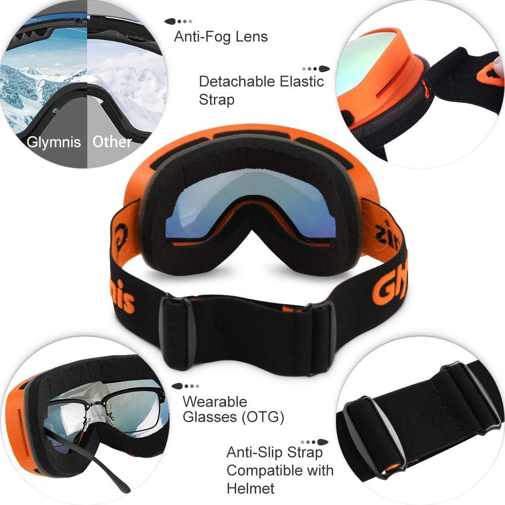 Glymnis Ski Goggles Anti-fog UV Protection Snow Goggles OTG for Men /& Women Suitable for Skiing Snowboarding Downhill Skis