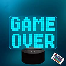 Lampeez Pixel Game Over LED Night Light, 3D Illusion lamp for Kids, 16 Colors Changing with Remote Control Kids Bedroom Ga...