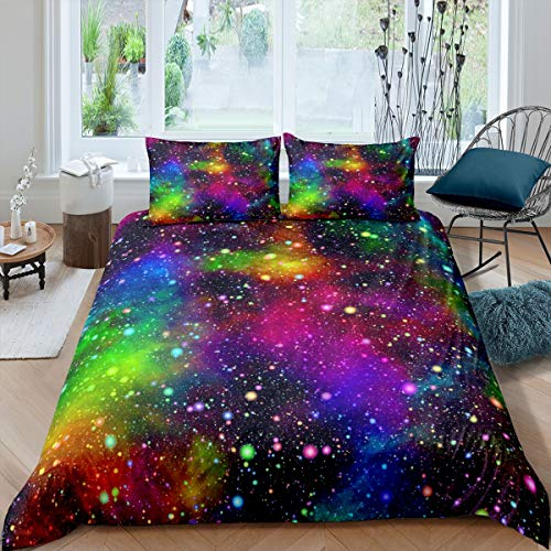 Colorful Galaxy Bedding Set Muilt Color Outer Space Duvet Cover Universe Starry Sky Rainbow Nebula Comforter Cover Kids Boys Girls Quilt Cover Bedroom Collection 3Pcs Double Size