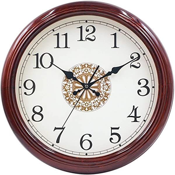 NJSHW 16 Inch Solid Wood Silent Non Ticking Battery Operated Decorative Wall Clock With Large Arabic Numerals