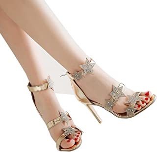 b0f719274a0d37 Caddy Wolfclaw Women Sexy High Heel Ankle Strap Back Zip-up Dress Sandals  Shining Sequins