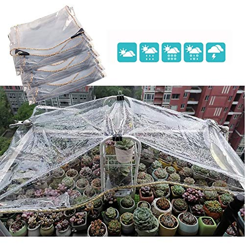 GDMING Heavy Duty Transparent Tarpaulin Waterproof UV Protection Outdoor Plant Cover Rain Cover For Garden Patio Pergola Canopy Awning PVC, Size Customized (Color : Clear, Size : 1.2x4m)