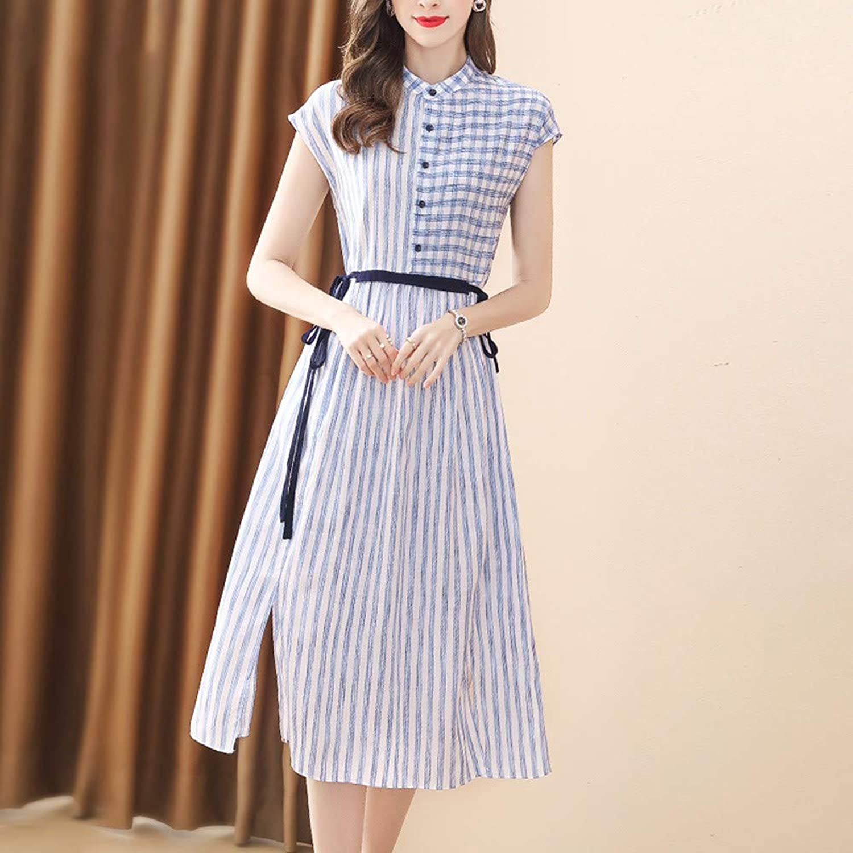 UOYJN Woman Dress Striped Cotton And Linen Dress Female Summer Women'S Short-Sleeved Long Shirt Skirt Women