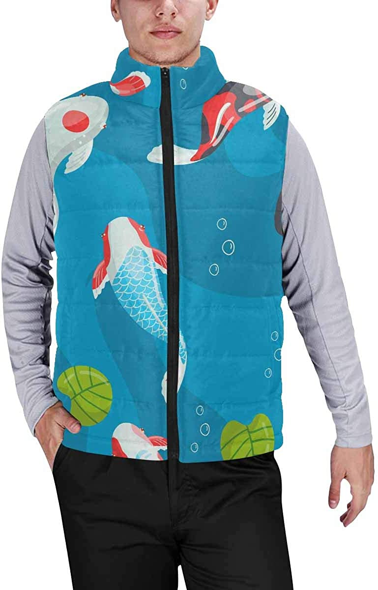 InterestPrint Casual Classic Quilted Sleeveless Vest for Men Japanese Cherry Blossom