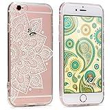 Urcover Funda Protectora Floral iPhone 6 Plus / 6s Plus Película FlexibleTransparente Suave Móvil Smartphone en Mandala Blanco