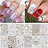 Kalolary 840+ Patrones Pegatinas uñas Niñas, Arte de Uñas Pegatinas de Animales Calcomanías Autoadhesivas Diy Etiqueta de Uñas para Mujeres Niños Niñas