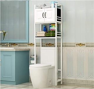 KOKOF Étagère de toilette WC au-dessus du sol de toilettes Étagère de rangement avec armoire blanche avec armoire Blanc 1