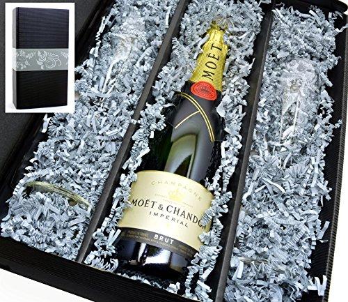 Geschenkkarton Moët & Chandon Champagner Brut Imperial 0,75l im Set mit 2 original Moët Gläser 0,1l
