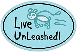Oval Car Magnet - Live Unleashed (Dogs) - Life Is Good - Magnetic Bumper Sticker