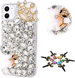 STENES Sparkle Phone Case Compatible with Samsung Galaxy A51 - Stylish - 3D Handmade Bling Crown Fox Rhinestone Crystal Diamond Design Cover Case - White