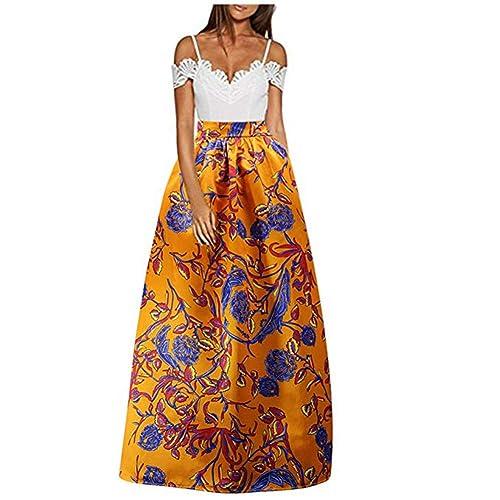 549a19c458796 CC-US Women African Rose Floral Maxi Skirt High Waist Pleated Beach Skirts  with Pockets