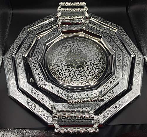 Set de 3 Bandeja de té en forma de rombo con grabado de estilo vintage, hecha a mano en color plata con detalles dorados marroquí