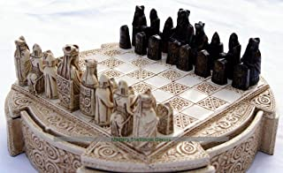 Masters Traditional Games Isle of Lewis Compact Chess Set - 9 Inches, Cream Cabinet
