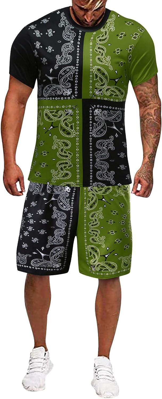 FUNEY 2021 Mens Fashion Sport Set Summer Outfit 2 Piece Set Short Sleeve T Shirts and Shorts Stylish Casual Sweatsuit Set
