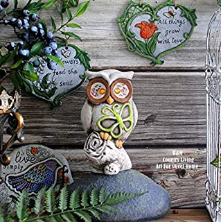 ZAMTAC American Countryside red Pottery barn Old owl Garden Balcony Garden Decorations are Arranged Resin Handicraft