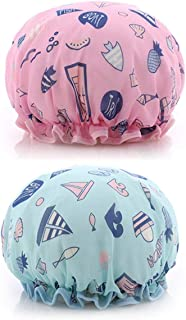 Meterk 2 Pack Ocean Shower Cap Double Layers Bath Caps for Women Reusable Spa Waterproof Designed Satin Lined (Pink and Blue)