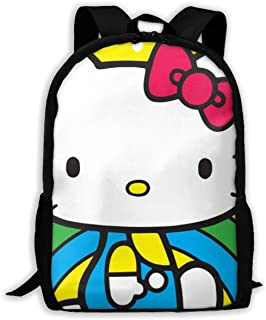 Custom Hello Kitty with Rainbow Casual Backpack School Bag Travel Daypack Gift