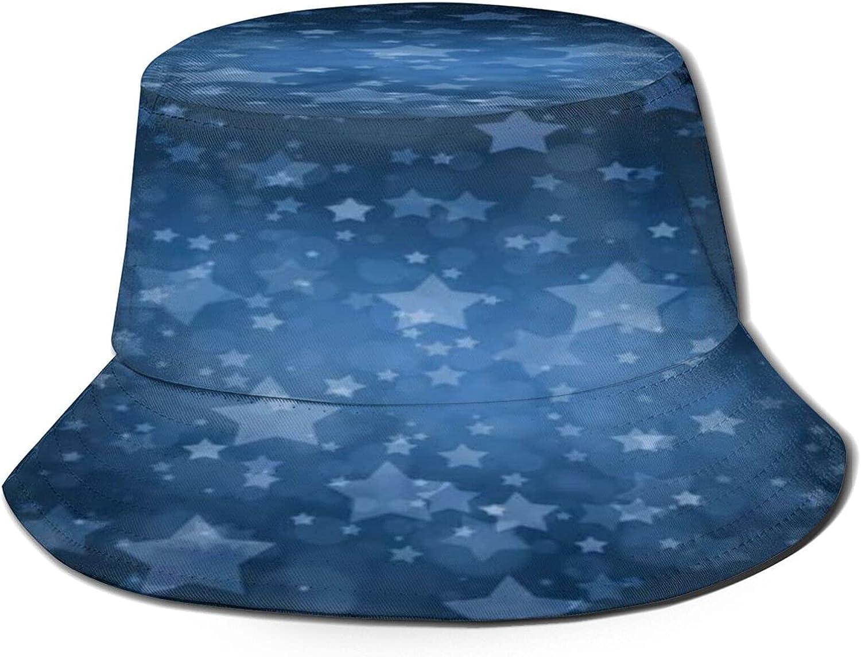 Vintage Style White Stars on Navy Blue Bucket Hat Unisex Sun Hat Summer Packable Fisherman Hats Black