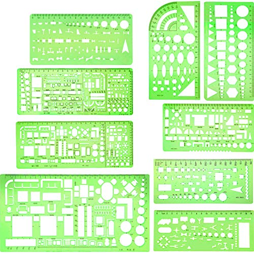 Boao 9 Pieces Geometric Drawing Templates Clear Green Building Formwork Stencils Plastic Measuring Rulers for Building and Studying