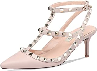 Women's Studded High Heels Gold Stud Heeled Sandals Pointed Toe Strappy Buckle Studs Leather Dress Pumps