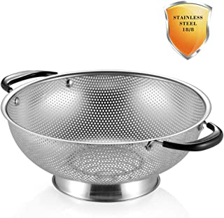 18/8 Stainless Steel Colander, Easy Grip Micro-Perforated 5-Quart Colander, Strainer with Riveted and Heat Resistant Handles, BPA Free, FDA Approved. Great For Pasta, Noodles, Vegetables and Fruits