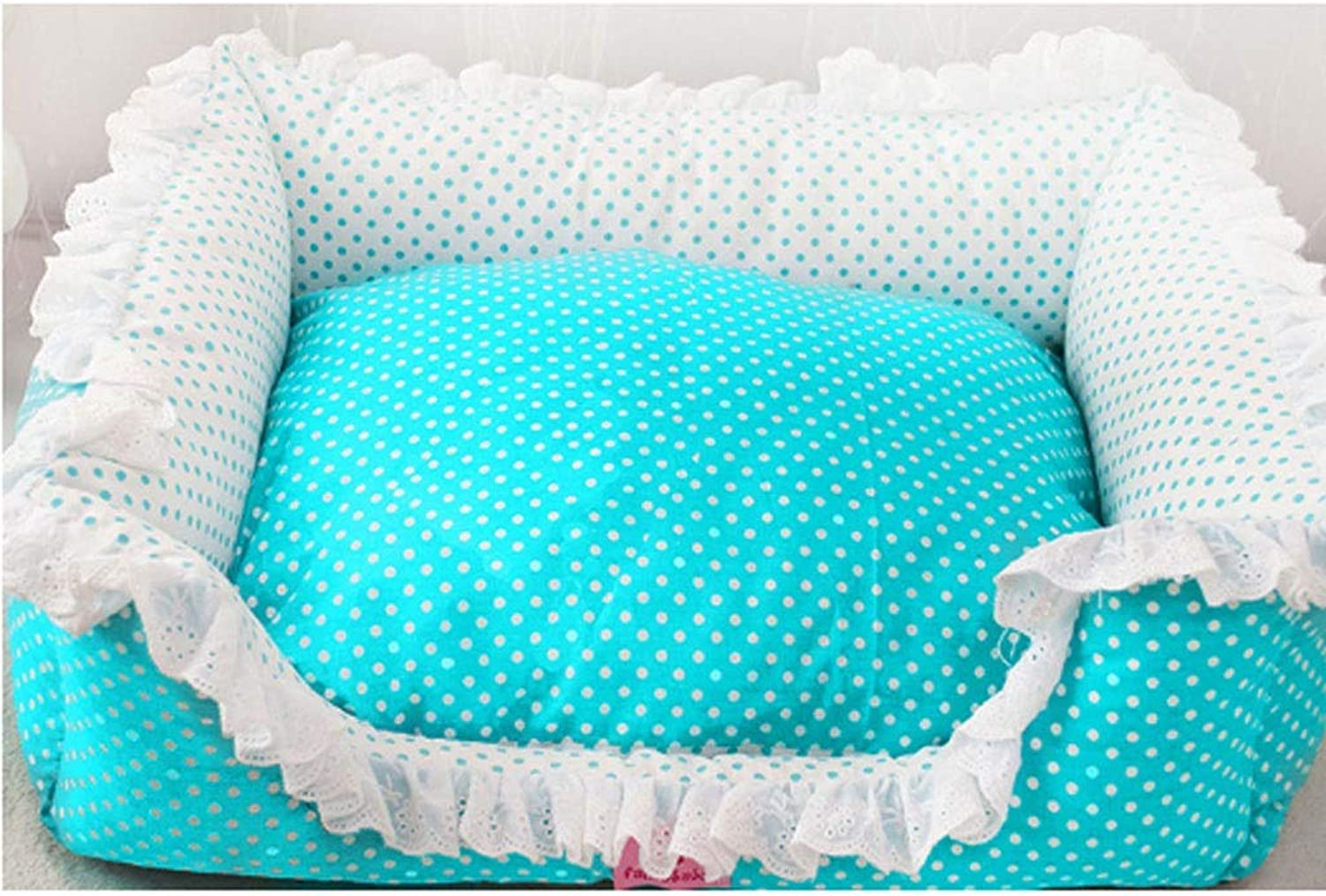 BarryL Dog Bed Cat Bed Cute Princess Fresh Polka Dot Square Pet Nest Fully Removable And Washable Luxury Pet Sofa Washable Pet Bed (color   bluee, Size   L)