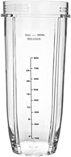 Large 32Oz Multi-Serve Replacement Spare Parts Measuring Cup Mug Part for Nutri Ninja Auto-iQ and Duo Blenders Juicer Mixer Accessory with Black Graphics