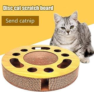 Baiancy Cat Scratcher Pad Round Cat Scratch Board Corrugated Paper Turntable Cat Toy