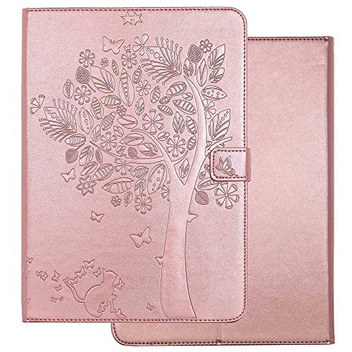 New iPad 9.7 2018 / 2017 Case, Big Tree Butterfly Cat Case Embossed Premium PU Leather Flip Cover Shell Wallet Slim Stand Protective Cover for Apple iPad 9.7 Inch 2018 / 2017 (Rose Gold)