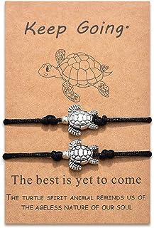 Jeka Sea Turtles Matching Bracelets Handmade Rope Birthday Gifts Adjustable Relationship Jewelry for Teen Girls Boys 2 Set