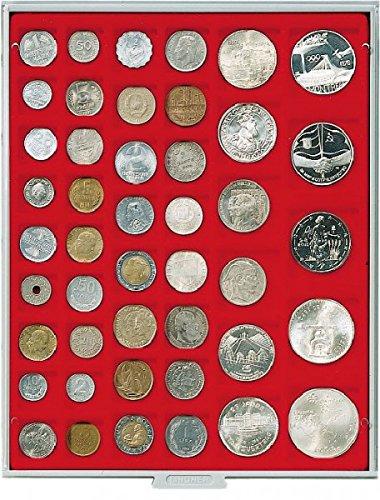 LINDNER Das Original Box Monnaies Standard à 45 alvéoles carrés pour Monnaies/Capsules jusqu'à Ø 24, 28, 39 et 44 mm