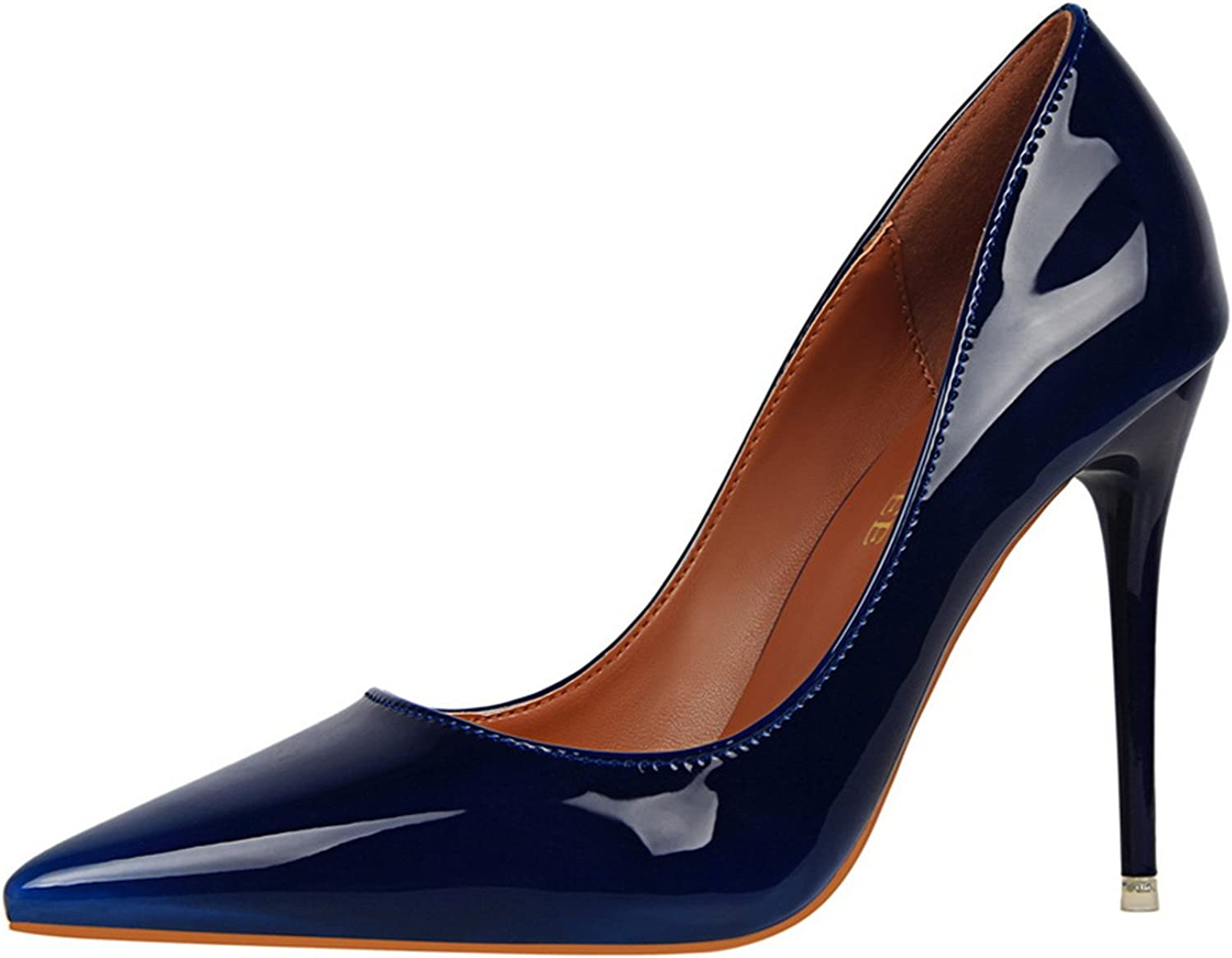 Gome-z Size34-39 Women Pumps High Heels Patent Leather Royal bluee Green Red New Super Sexy Brand Female shoes Zapatillas women 10cm