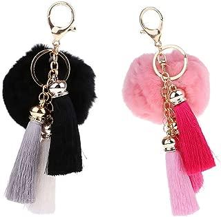 NATFUR 2Pcs Rabbit Fur Ball Pom Pom Gold Key Chain with Plush for Keys Pretty Key-Chain Cute for Men Holder for Girls for Gift Elegant Beautiful Fine Beauteous Goodly