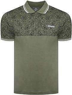 Lambretta Mens Paisley Tipped Polo Shirt T-Shirt - Olive - L