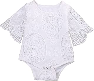 Newborn Baby Girl Clothes Flower White Ruffles Sleeve Lace Romper Sunsuit Bodysuits