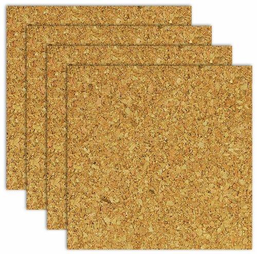 """Board Dudes CXP78 6"""" x 6"""" Light Cork Tiles 4-Pack"""
