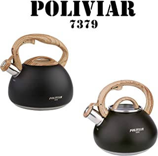 POLIVIAR Tea Kettle, Black Ti Tea Pot Stovetop, 2.7 & 2.1 Quart Loud Whistling Coffee and Teapot, Food Grade Stainless Steel for Anti-Hot Handle and No-Rust, Suitable for All Heat Sources
